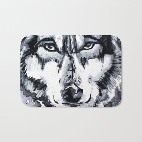 Abstract Wolf - Zoomed Bath Mat