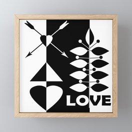 Scandinavian black and white abstract pattern . Framed Mini Art Print