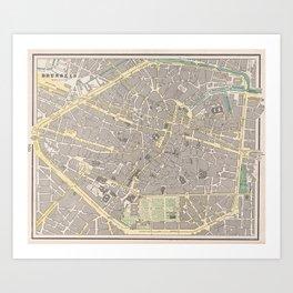 Vintage Map of Brussels Belgium (1901) Art Print