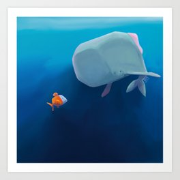 The little sperm whale and the fish Art Print