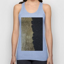 Faux Gold and Black Starry Night Brushstrokes Unisex Tanktop