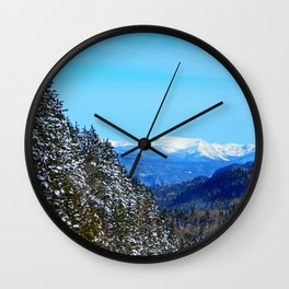 Snow Capped Mountains Wall Clock