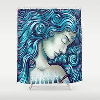 jazzberry Shower Curtains featuring Calypso Sleeps by TotalBabyCakes