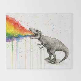 T-Rex Dinosaur Vomits Rainbow Throw Blanket