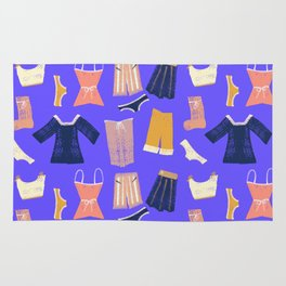 Colorful hanging clothes seamless pattern. Creative and modern graphic design. Vibrant colors. Rug