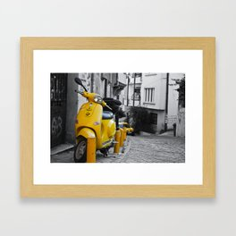 YELLOW MOTORCYCLE SCOOTER IN VINTAGE STREET Framed Art Print