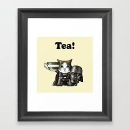 Tea Vadercat Cream Framed Art Print
