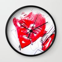 gangster Wall Clocks featuring Strawberry gangster by Jan Boss