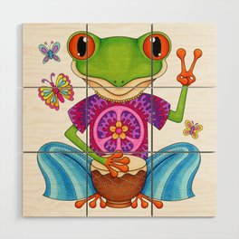Peace Frog - Colorful Hippie Frog Art by Thaneeya McArdle Wood Wall Art