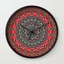 Mandala Christmas Pug Wall Clock