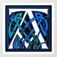 Celtic Peacocks letter A Art Print