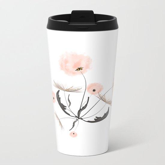 Sweet dandelions in pink - Floral Watercolor illustration with Glitter Metal Travel Mug