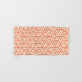 Living Coral Tilted Cubes Pattern Hand & Bath Towel