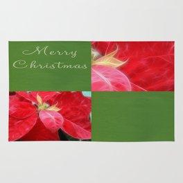 Mottled Red Poinsettia 2 Merry Christmas Q5F1 Rug