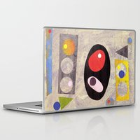 50s Laptop & iPad Skins featuring Atomic 50s 60s Inspired Retro Collage Abstract Pink by Beatrice Roberts