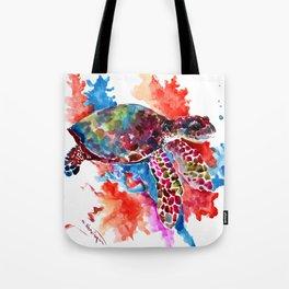 Sea Turtle, Coral Reef, Sea world design Red Purple Blue Tote Bag
