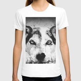 lying dog close-up view wsbw T-shirt
