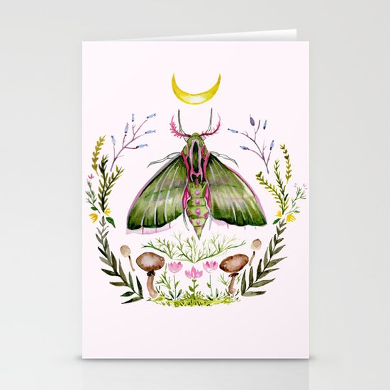 Pink Moth Stationery Cards
