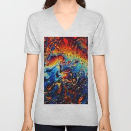Abstract Panting Unisex V-Neck