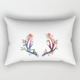 Roses and Antler - Floral flowers  watercolor Illustration Rectangular Pillow