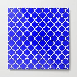 Moroccan Trellis (White & Blue Pattern) Metal Print