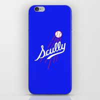 dodgers iPhone & iPod Skins featuring Vin Scully - Dodgers Logo Themed by Wear More Tees