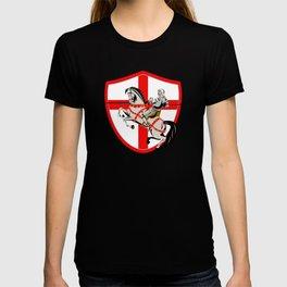 English Knight Rider Horse England Flag Retro T-shirt