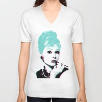hepburn V-neck T-shirts featuring AUDREY HEPBURN by Nuk_
