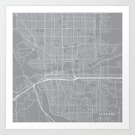 Spokane Map, Washington USA - Pewter Art Print