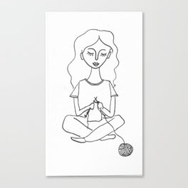 knitting in black and white Canvas Print