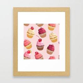 Retro Pink Cupcakes Framed Art Print