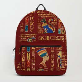 Egyptian hieroglyphs and deities on red Backpack