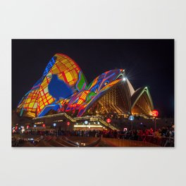 Designs projected on the roofs of Opera House. Canvas Print