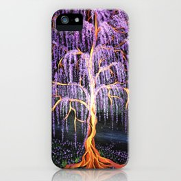 Electric Wisteria Willow Tree iPhone Case