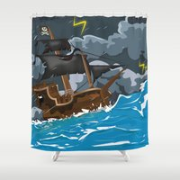 pirate ship Shower Curtains featuring Pirate Ship in Stormy Ocean by Nick's Emporium Gallery
