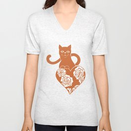 Valentine Cat with Heart and Roses Unisex V-Neck