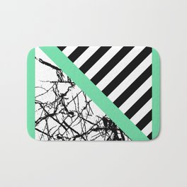 Stripes N Marble - Black and white geometric stripes and marble pattern, bold on green background Bath Mat