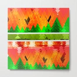 Autumn Abstract OrangeTrees themed pattern Design Metal Print