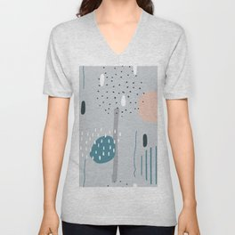 Geometric Abstract Doodling Pastel Colors Unisex V-Neck
