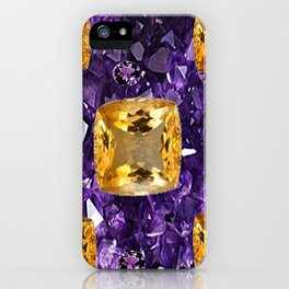 PURPLE AMETHYST & GOLDEN TOPAZ GEM CRYSTALS ART iPhone Case
