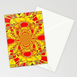 RED & YELLOW GEOMETRICAL-OPTICAL ART Stationery Cards