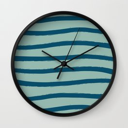 Paint Lines Turquoises Wall Clock