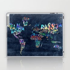 world map typography watercolor 4 Laptop & iPad Skin