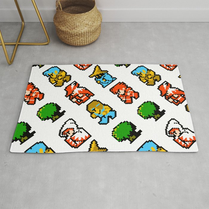 Final Fantasy | white || vintage retrogaming heroes Rug