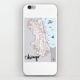 Illustrated Map of Chicago Neighborhoods iPhone Skin