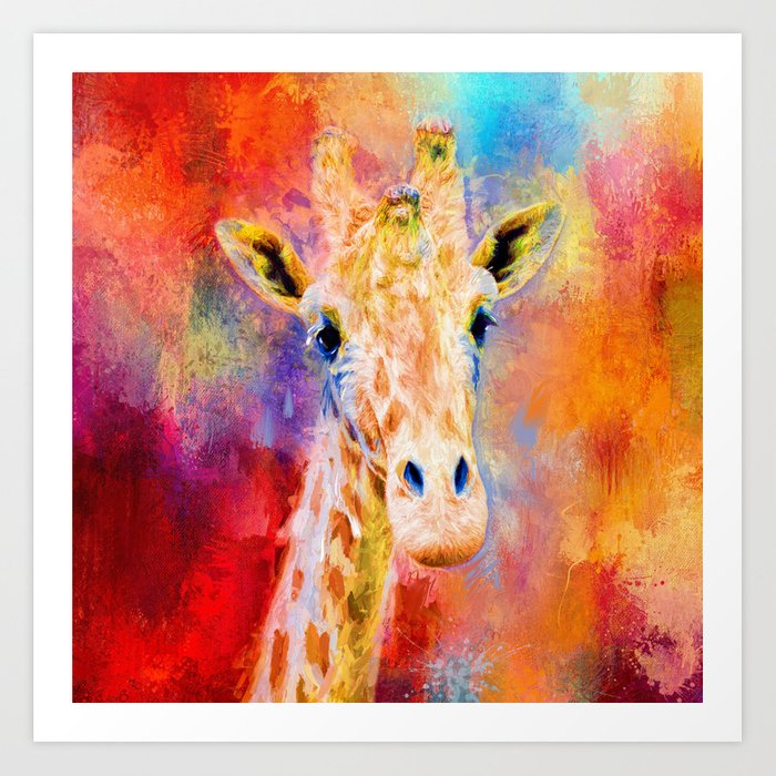 Jazzy Giraffe Colorful Animal Art By Jai Johnson Art Print