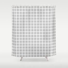 Grid (White & Gray Pattern) Shower Curtain
