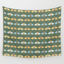 Honey Bees Pattern - Dark Green Backgound Wall Tapestry