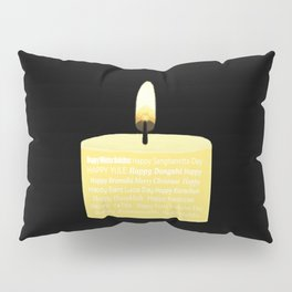 Happy Holidays Candle Pillow Sham
