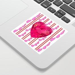 PINK JEWELED PINK VALENTINE HEARTS  DESIGN Sticker